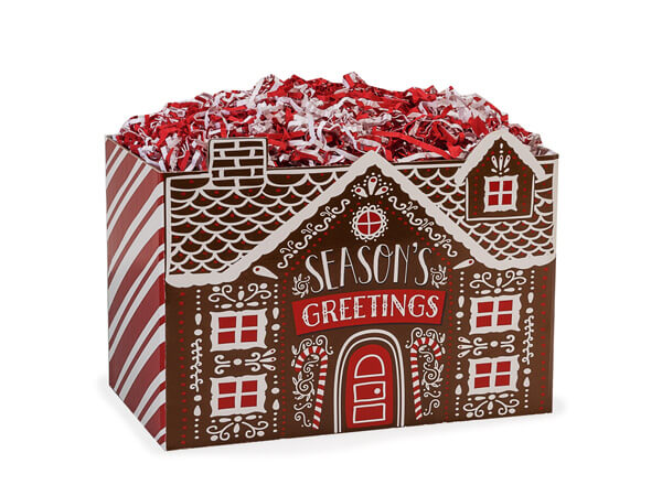 """Small Iced Gingerbread House Basket Box 6 3/4"""" x 4"""" x 5"""""""