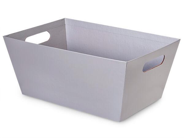 Metallic Silver Jumbo Wide Base Market Tray