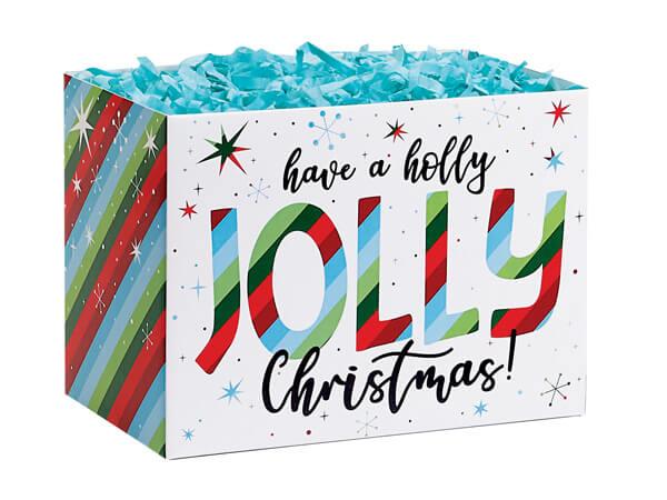 "Jolly Christmas Basket Box, Small 6.75x4x5"", 6 Pack"