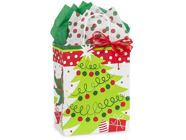 Cub Jolly Christmas Trees Paper Bags 250  8x4-3/4x10-1/4""