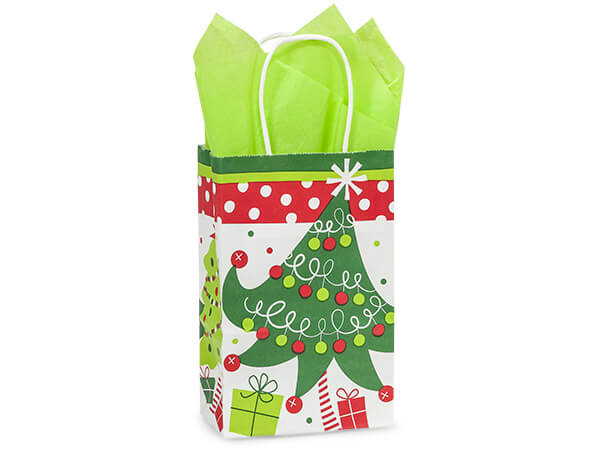 """Rose Jolly Christmas Trees Paper Bags 250  5-1/2x3-1/4x8-3/8"""""""