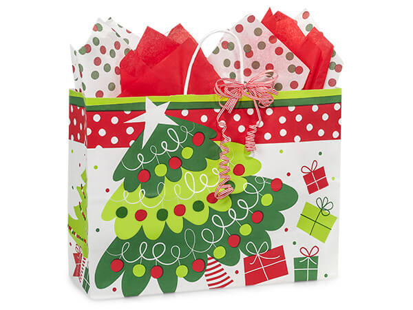 Vogue Jolly Christmas Trees Paper Bags 250 16x6x12""