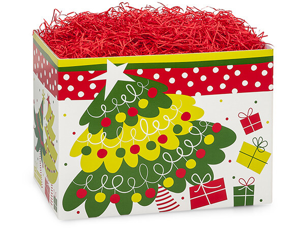 Large Jolly Christmas Trees Basket Boxes 10-1/4x6x7-1/2""