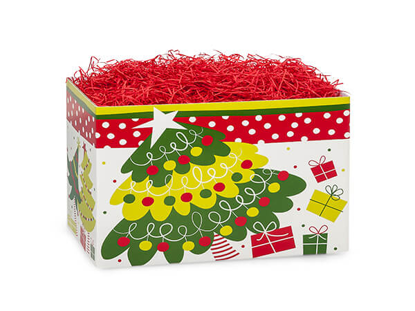 Small Jolly Christmas Trees Basket Boxes 6-3/4x4x5""