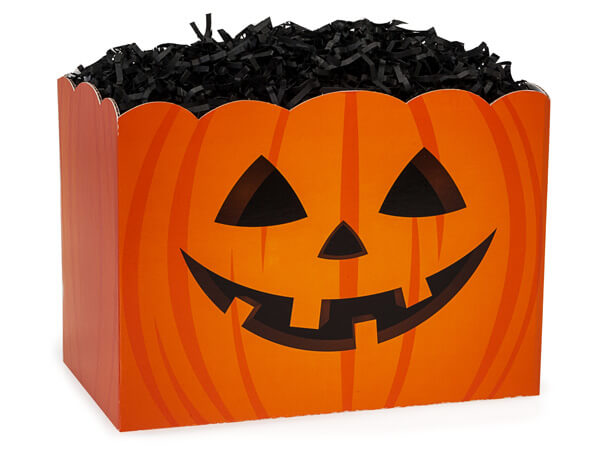 "Large Jack-o-Lantern Basket Box 10 1/4"" x 6"" x 7 1/2"""