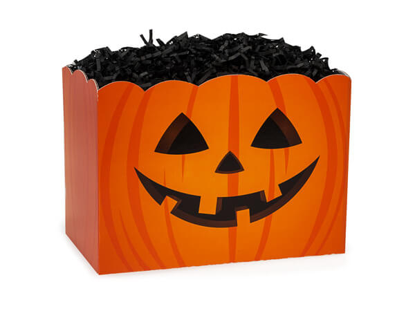 "Small Jack-o-Lantern Basket Box 6 3/4"" x 4"" x 5"""