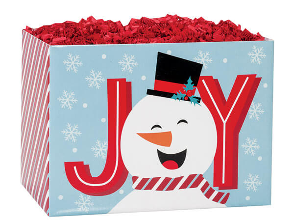 "Joyful Snowman Basket Boxes, Large 10.25x6x7.5"", 6 Pack"