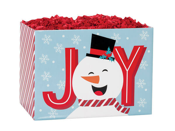 "Joyful Snowman Basket Boxes, Small 6.75x4x5"", 6 Pack"
