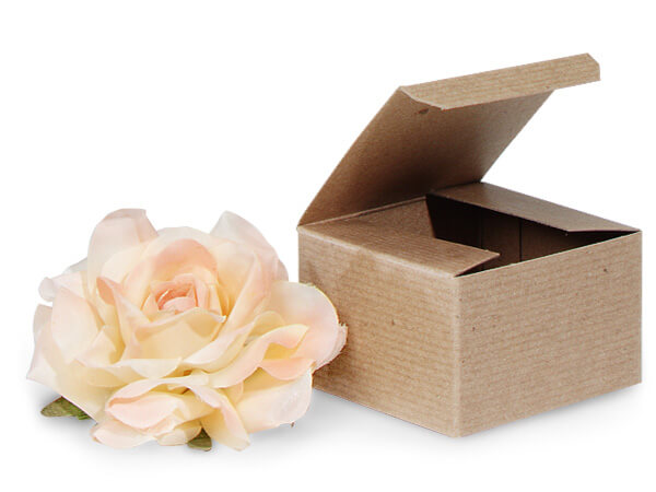 "Recycled Kraft 1 Piece Gift Boxes, 3x3x2"", 100 Pack"