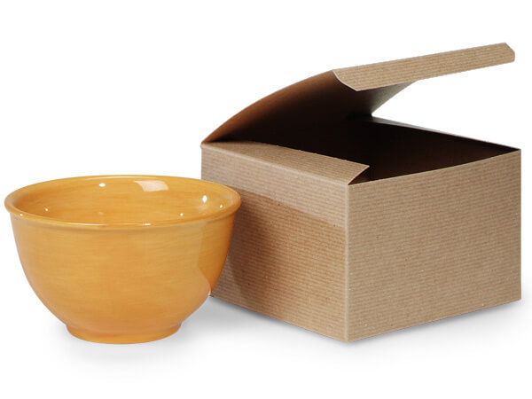 """Recycled Kraft Pinstripe 1 Piece Gift Boxes, 6x6x4"""", 5 Pack"""