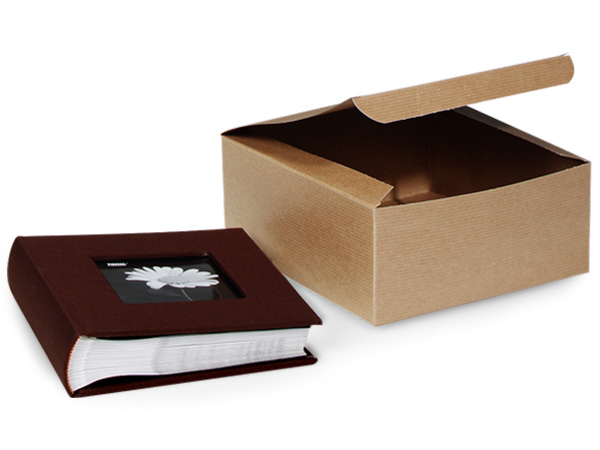 "Recycled Kraft 1 Piece Gift Boxes, 8x8x4"", 100 Pack"
