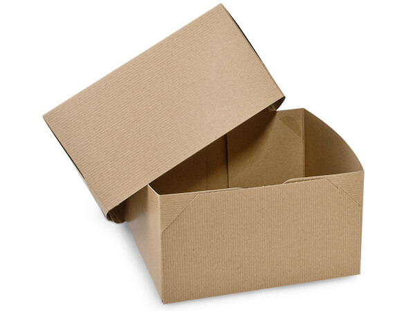 "Recycled Kraft 2 Piece Gift Boxes, 9x9x5"", 5 Pack"