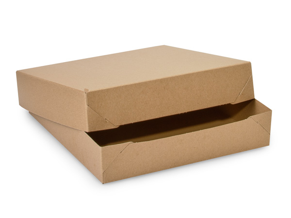 """Recycled Kraft Pinstripe 2 Piece Gift Boxes, 12x12x2.5"""", 50 Pack"""
