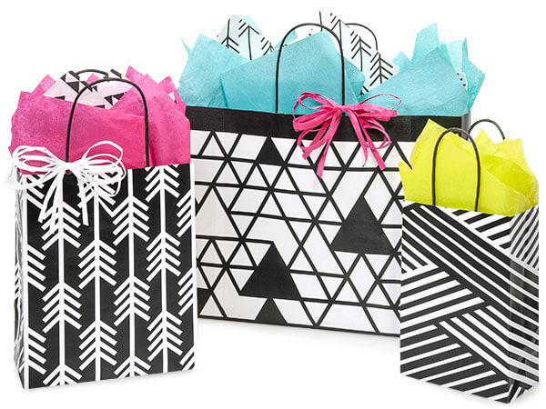 *125 Kinetic Ink White & Black    Paper Shopping Bag Assortment