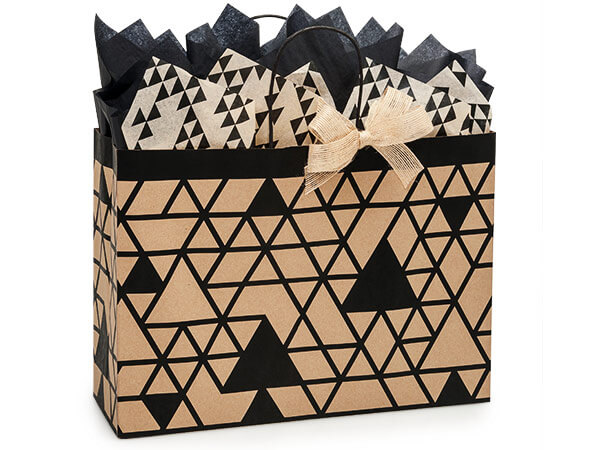 *Vogue Kinetic Ink Kraft & Black 250 Paper Bags 16x6x12""