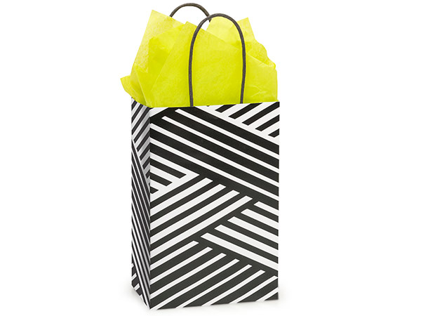"""Rose Kinetic Ink White & Black 25 Paper Bags 5-1/2x3-1/4x8-3/8"""""""