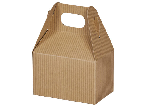 "Kraft Pinstripe Mini Gable Box 4x2.5x2.5"", 6 Pack"