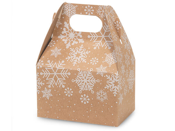 "*Kraft Snowflake Mini Gable Box 4x2.5x2.5"", 6 Pack"
