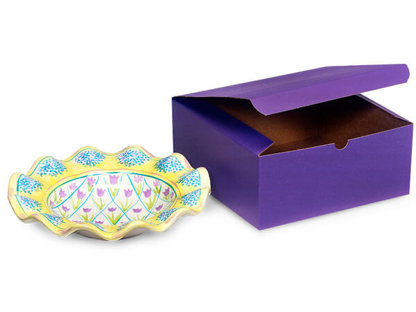 "Deep Purple Gift Boxes 8x8x3.5"""