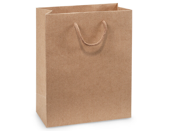 "Kraft Pinstripe Gift Bags, Cub 8x4x10"", 100 Pack"