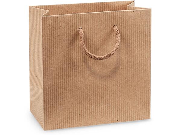 "Kraft Pinstripe Gift Bags, Jewel 6.5x3.5x6.5"", 100 Pack"