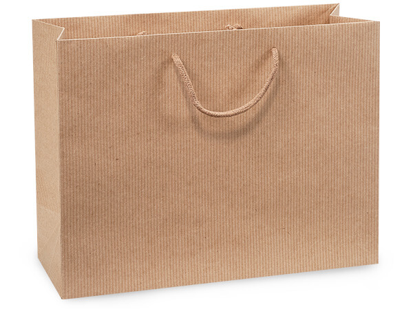 "Kraft Pinstripe Gift Bags, Medium 13x5x10"", 100 Pack"