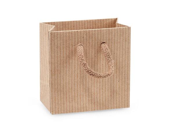 "Kraft Pinstripe Gift Bags, Petite 4x2.5x4"", 100 Pack"