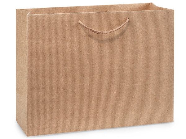 "Kraft Pinstripe Gift Bags, Vogue 16x6x12"", 100 Pack"
