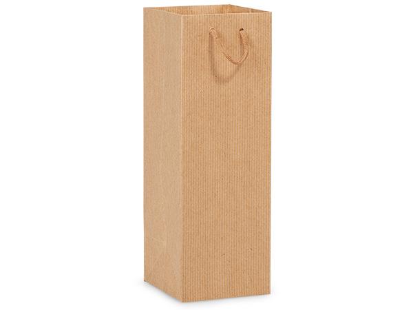 "Kraft Pinstripe Gift Bags, Wine 4.5x4.5x13"", 100 Pack"