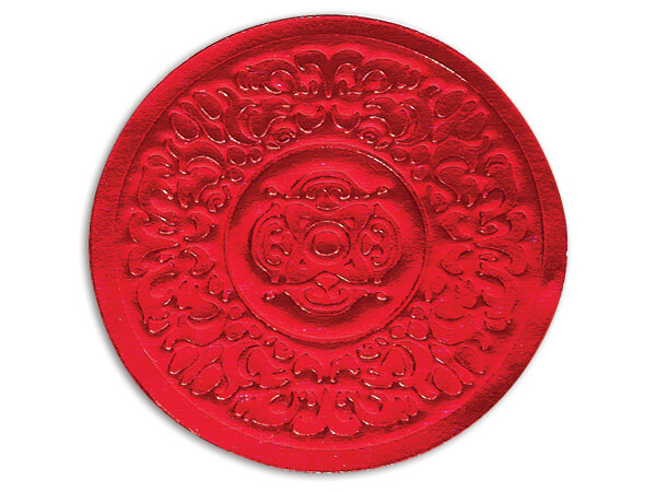 """*500 Red Medallion Embossed 2"""" Round Foil Seals"""