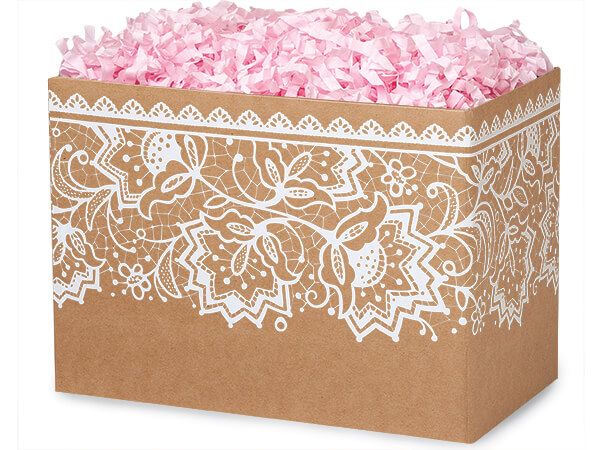 Large Lace Borders Basket Boxes 10-1/4x6x7-1/2""