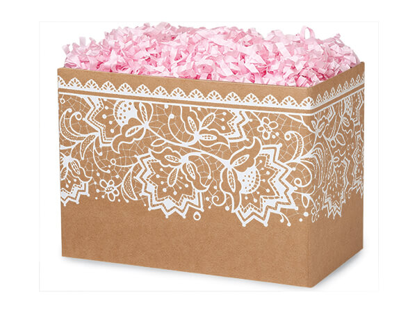 """Small Lace Borders Basket Boxes 6-3/4x4x5"""""""