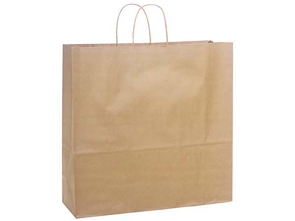 "Jumbo Natural Kraft Shopping Bags 200 Pk 18x7x18-3/4"""