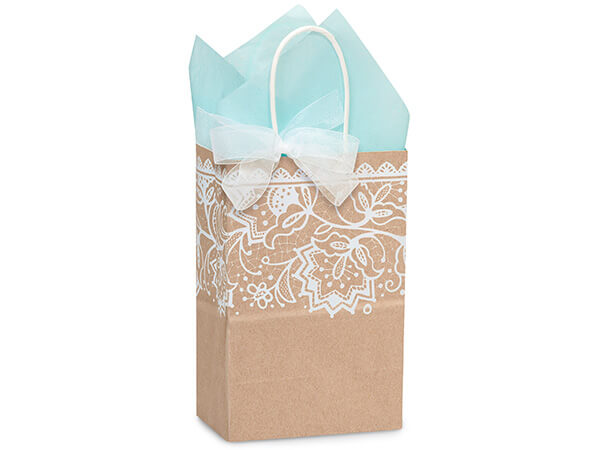 Rose Lace Borders Recycled Paper Bags 250 5-1/2x3-1/4x8-3/8""