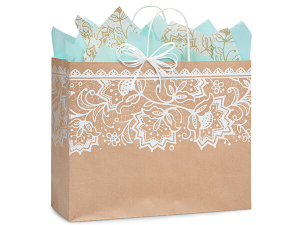 "Lace Borders Recycled Paper Bags, Vogue 16x6x12"", 250 Pack"