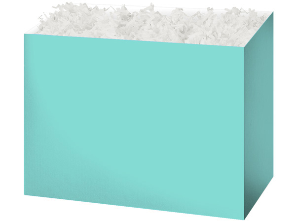 Large Solid Aqua Blue Basket Boxes 10-1/4x6x7-1/2""
