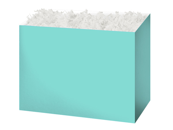 Medium Solid Aqua Blue Basket Boxes 8-1/4x4-3/4x6-1/4""