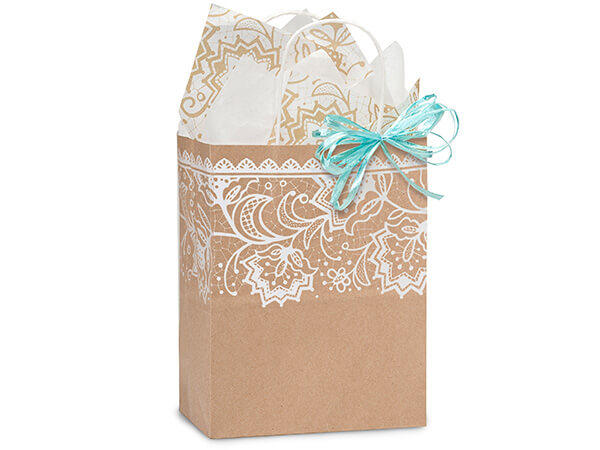 "Lace Borders Recycled Paper Bags, Cub 8x4.75x10.25"", 25 Pack"
