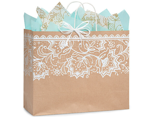 "Lace Borders Recycled Paper Bags, Vogue 16x6x12"", 25 Pack"
