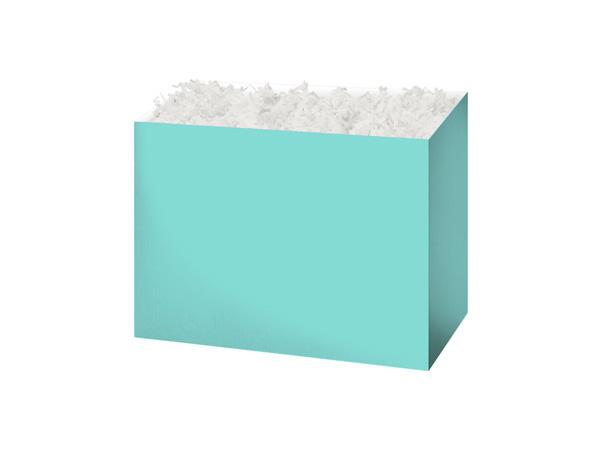 """Small Solid Aqua Blue Basket Boxes 6-3/4x4x5"""""""