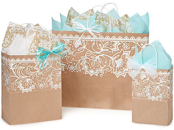Lace Borders Recycled Paper Bags, Small 25 Pack Assortment