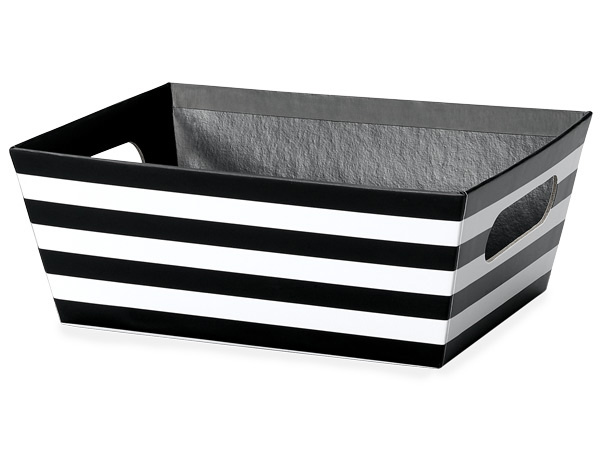 Black and White Stripe Wide Base Market Tray