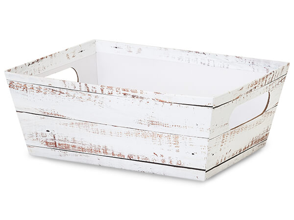 Distressed White Wood Large Wide Base Trays