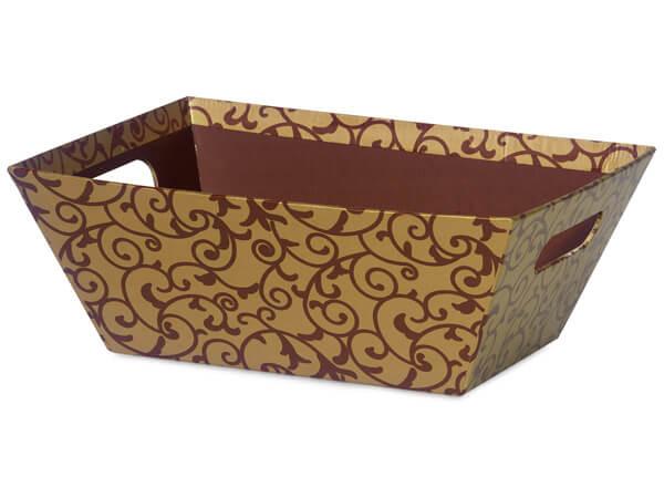 "Elegant Chocolate Scroll Market Trays Large 7-1/2x9-7/8x3-1/2"""