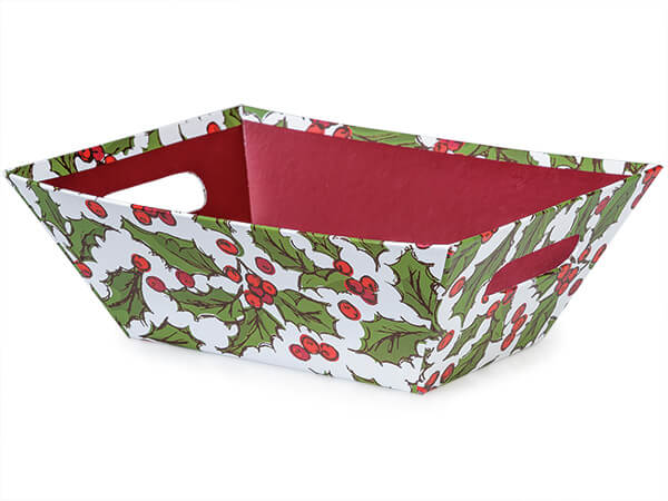 Holly Berry Tidings Market Trays Large 7-1/2x9-7/8x3-1/2""