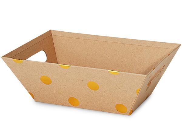 """Kraft Metallic Gold Dot Market Tray Large 7-1/2x9-7/8x3-1/2"""""""