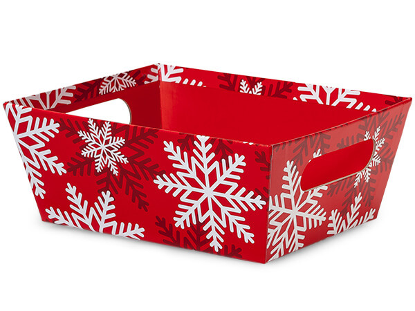 Red and White Snowflake Large Wide Base Market Trays