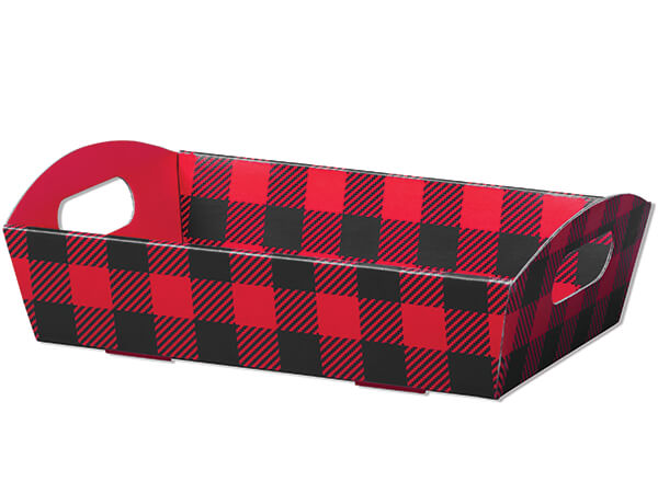 Buffalo Plaid Shallow Folding Market Tray