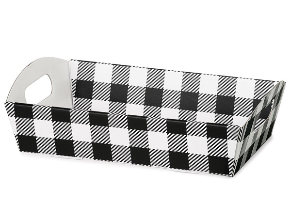 Buffalo Plaid Black and White Shallow Folding Market Trays