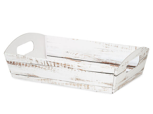 Distressed Wood Shallow Folding Market Tray, Large, 6 Pack